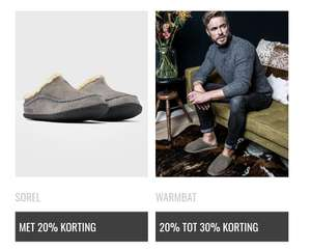 10% extra korting op BF prijs pantoffels