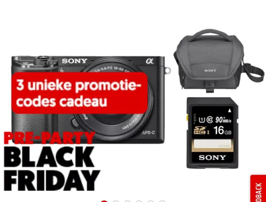 SONY Alpha A6000 kit, tas + SD-kaart