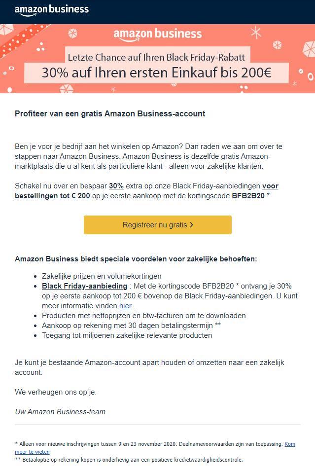 Nieuwe Amazon(.de) Business klanten kunnen 30% besparen met deze Black Friday code