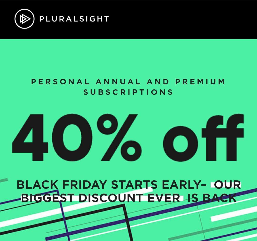 Jaar abbonement Pluralsight 40% black friday korting