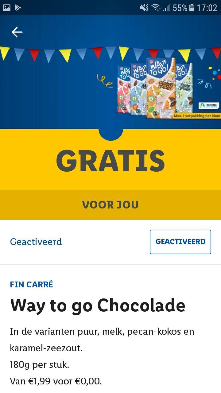 Gratis Way to Go chocola coupon @Lidl plus App