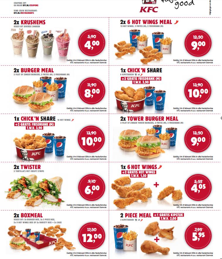 Kortingsbonnen voor KFC, geldig tot 8 feb