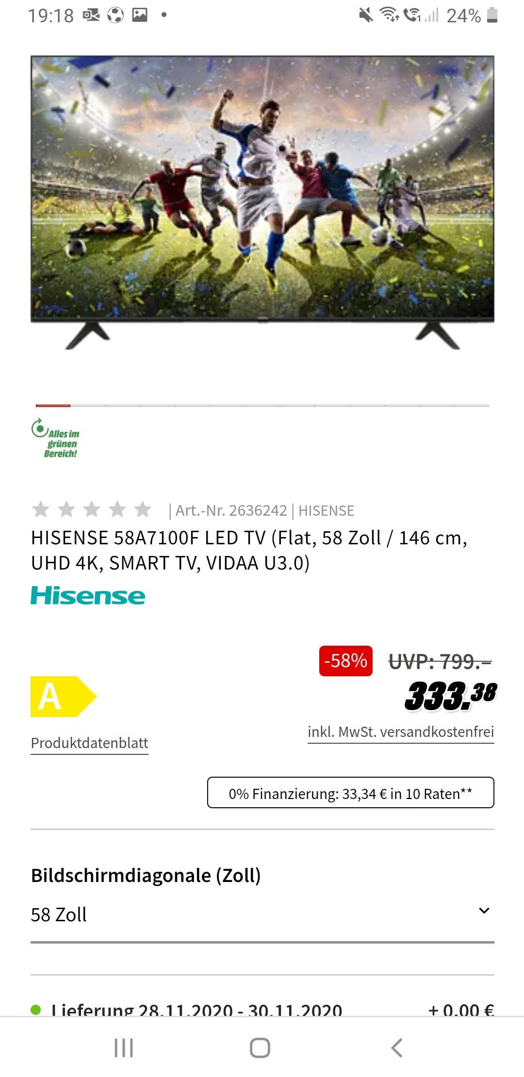 Grensdeal Duitsland HISENSE 58A7100F