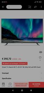 "Smart Tv Xiaomi Mi Tv 4S 43 ""4K Ultra Hd Led Wifi Zwart (in app aankoop)"