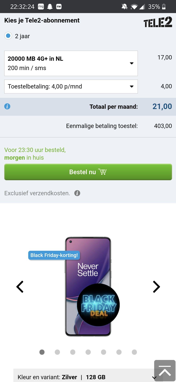 Oneplus 8t €499 @Belsimpel i.c.m. abonnement
