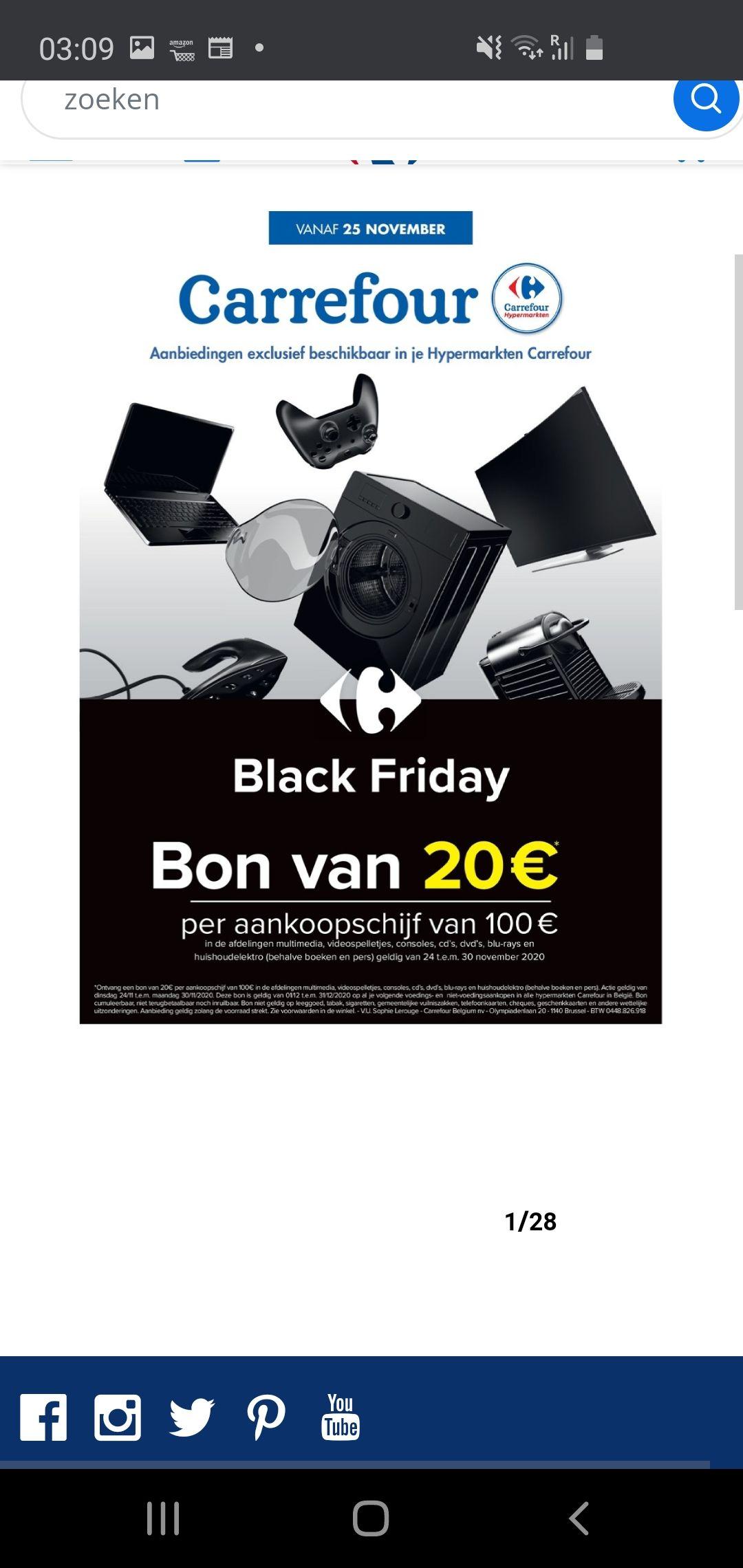 (België) 20 euro waardebon bij aankoopschijf 100 euro carrefour hypermarkt