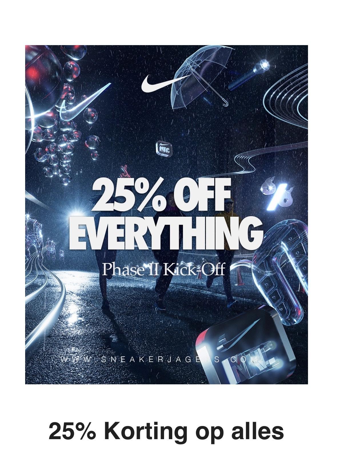 25% Korting op alles* bij Nike