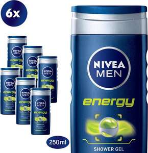 Nivea Men Energy - 6 x 250 ml - Douchegel - Voordeelverpakking (select deal)