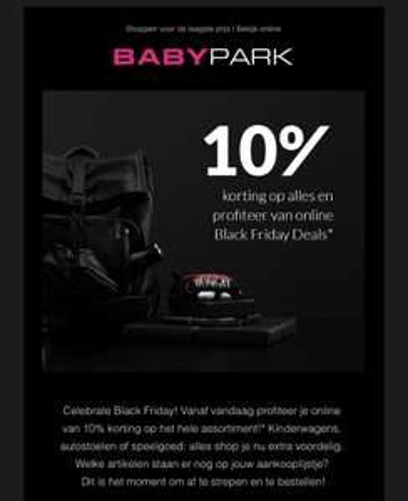 10% korting op alles bij babypark