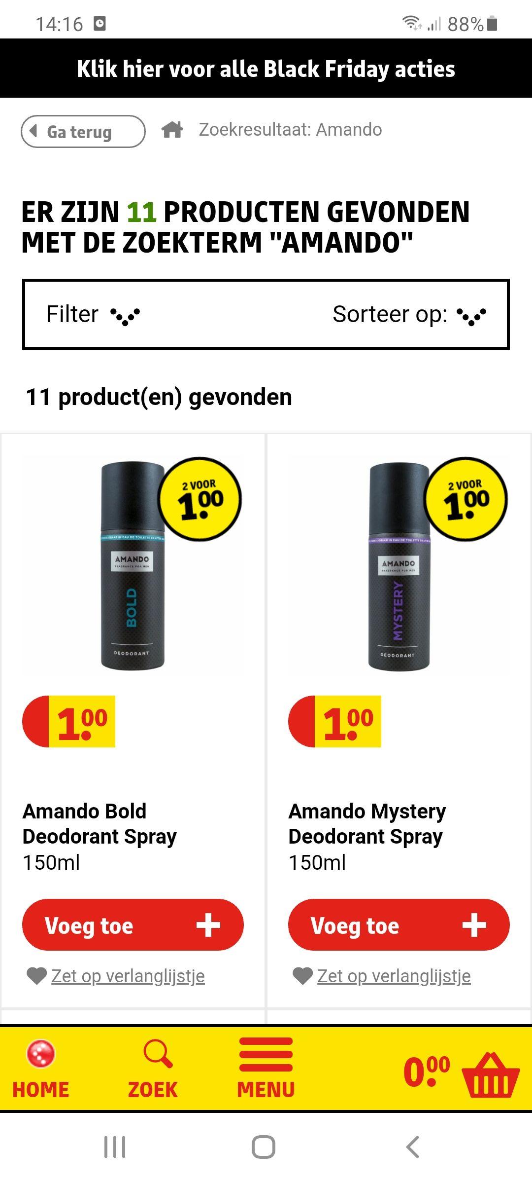 Amando deo 2 voor 1 euro @kruitvat