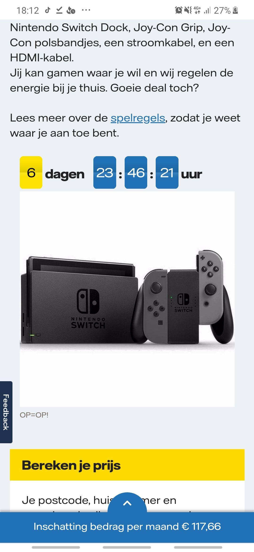 Nintendo switch grijs bij overstap naar Vattenfall (BLACKFRIDAY DEAL)