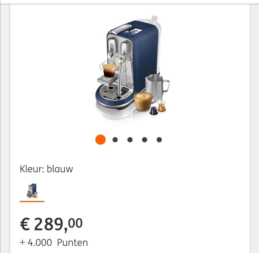 Nespresso Sage Creatista Plus voor €289,- (+ 4000 rentepunten) bij ING