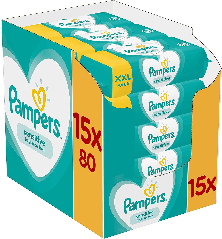 Pampers Sensitive Babydoekjes 15 Verpakkingen Met 80 Doekjes = 1200 Doekjes