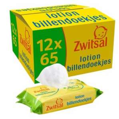 12 *65 Zwitsal Lotion Billendoekjes @ Trekpleister (€1,08/pakje met 65 doekjes)