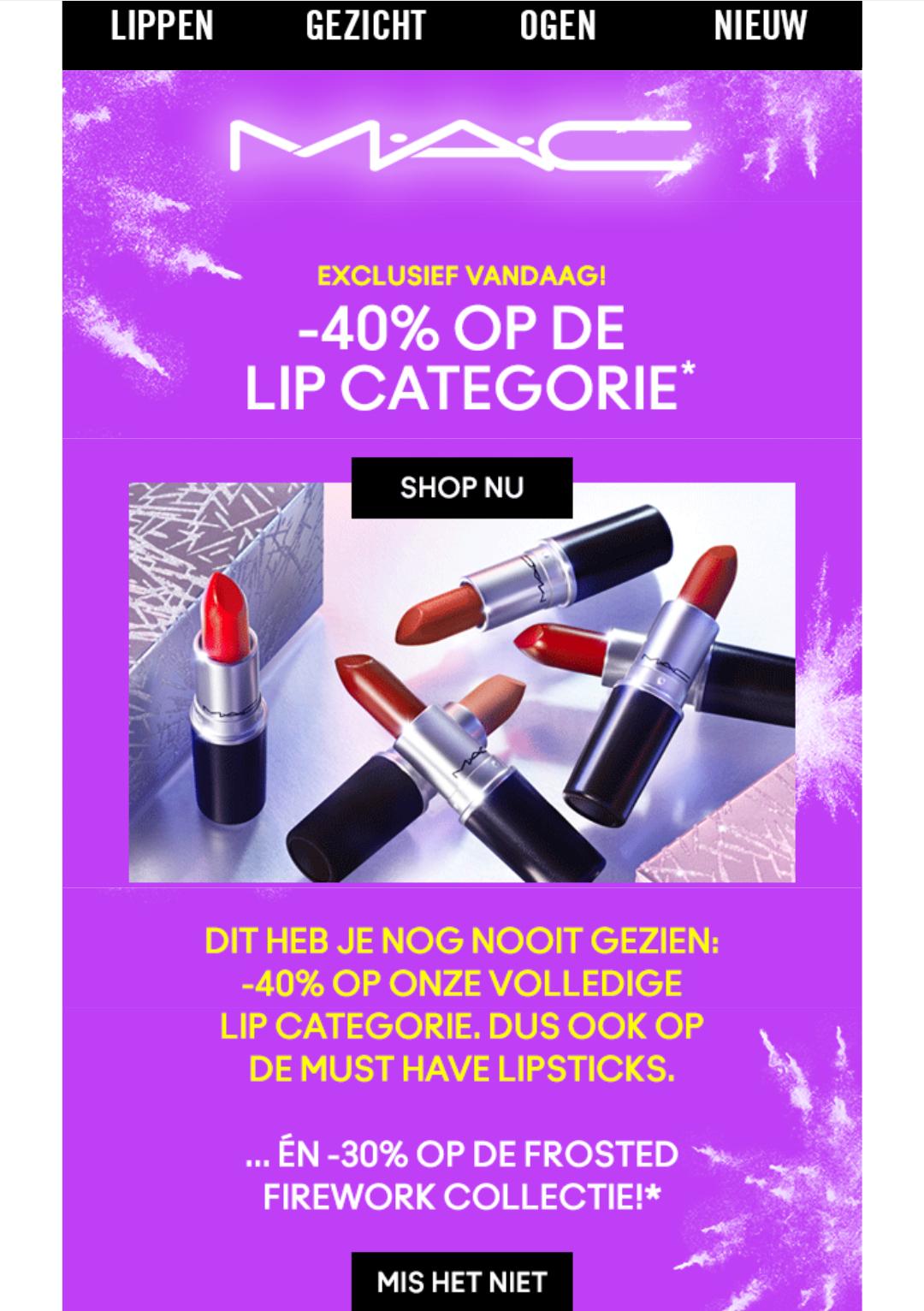 Mac cosmeticamerk alleen vandaag 40 % korting op lippen.