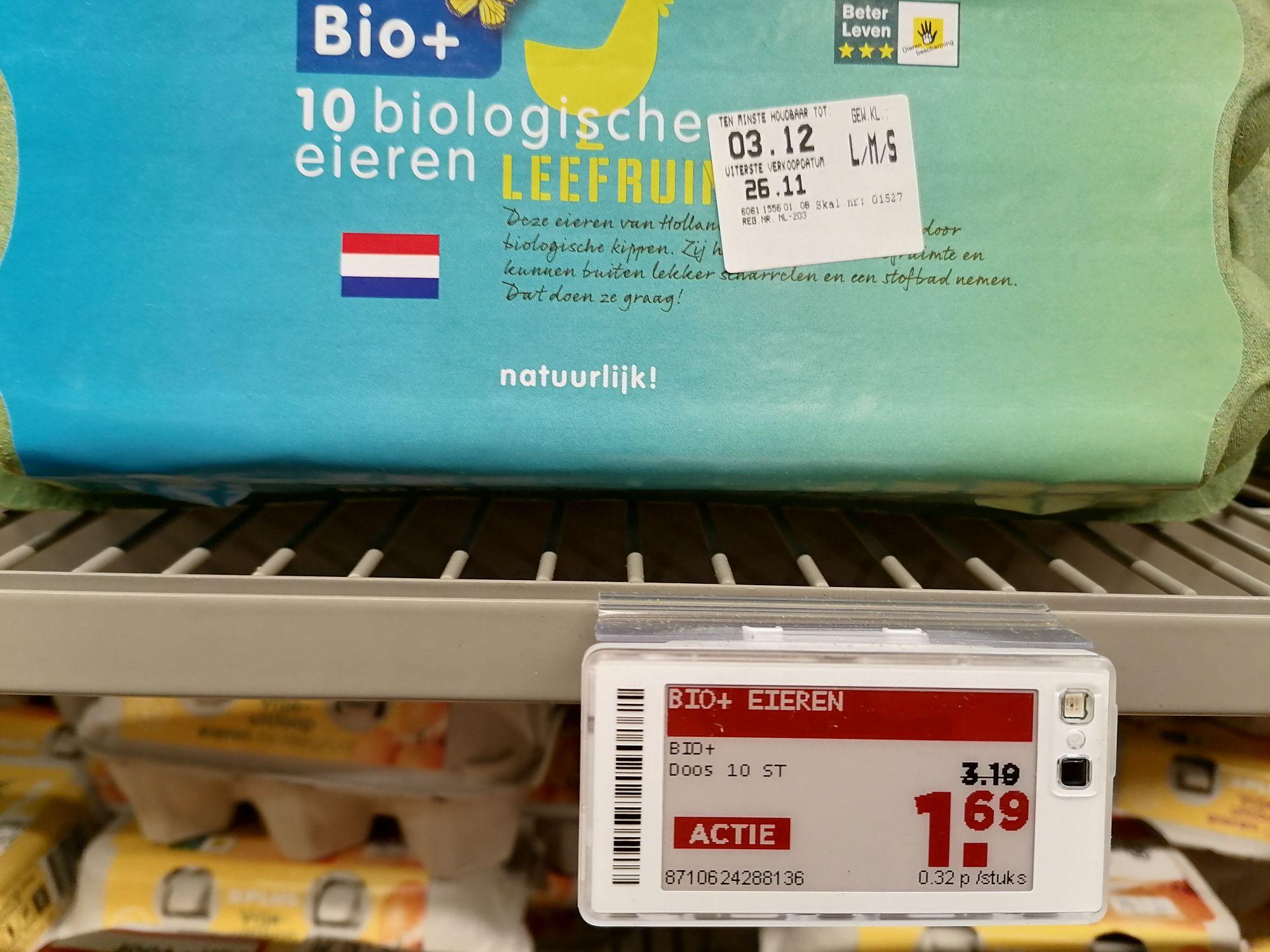 10 Bio+ eieren (S/M/L) voor €1,69 @ Plus (extra aanbieding)