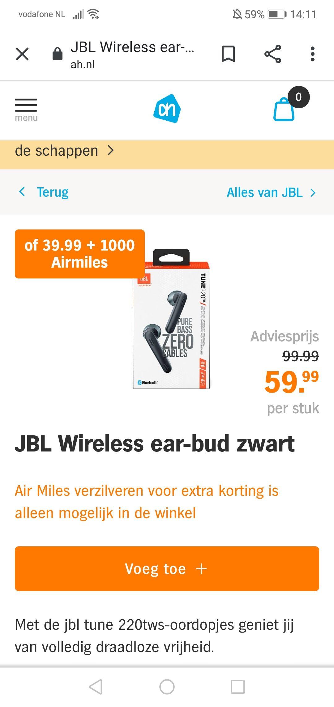 JBL TUNE 220TWS voor €40 of €60