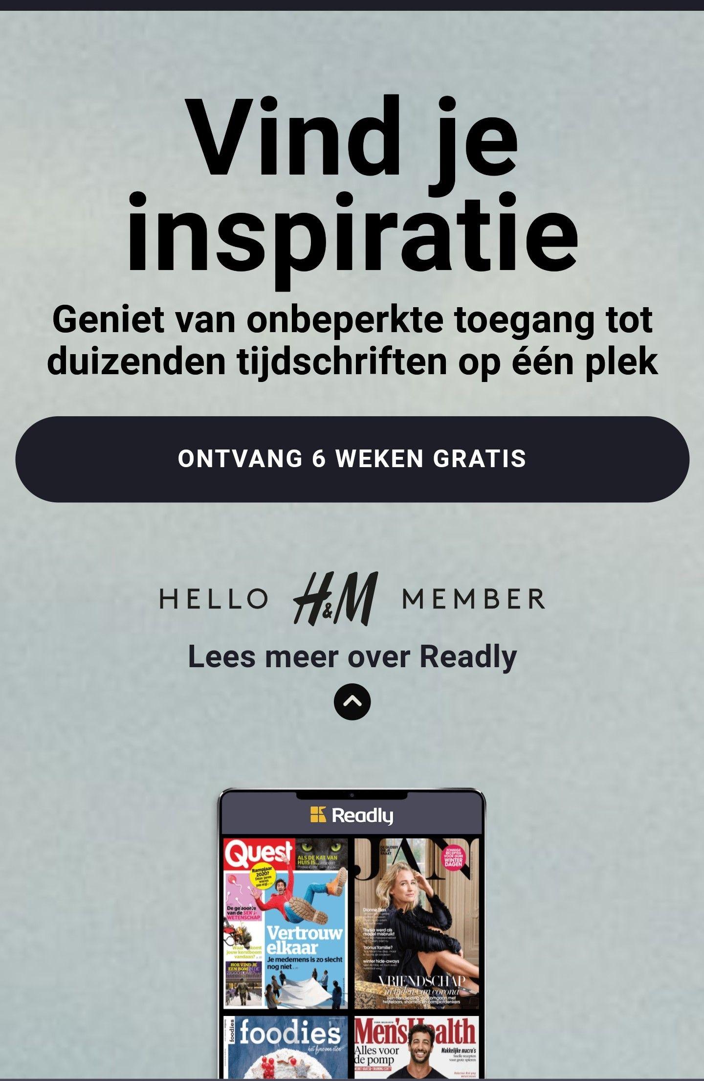 6 weken gratis Readly als H&M Member