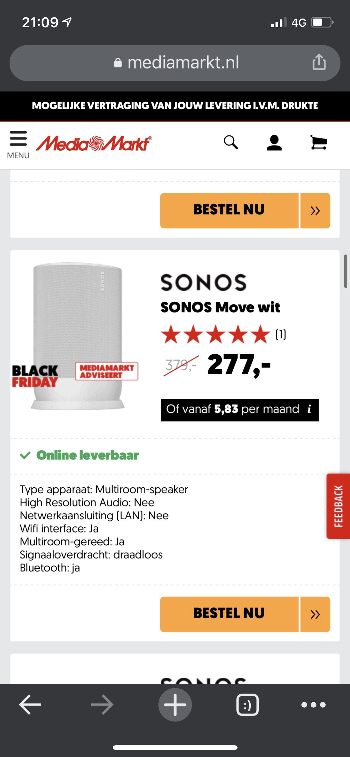 Sonos move zwart/wit