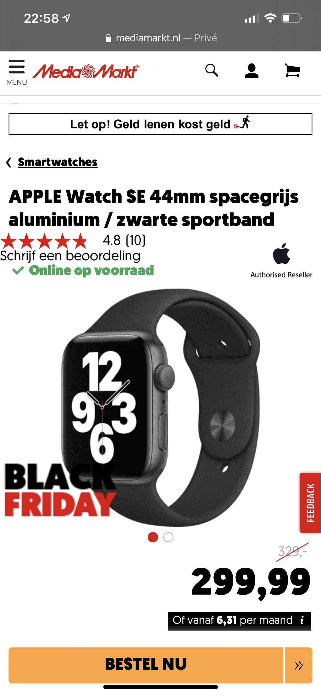 APPLE Watch SE 44mm spacegrijs aluminium / zwarte sportband