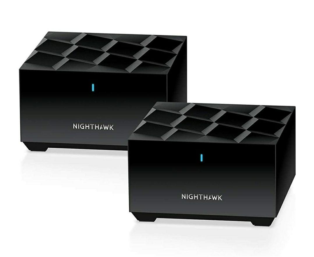 Netgear MK62 WiFi 6 Mesh AX-WLAN-systeem, set van 2 mesh router + mesh repeater satelliet, 2 x Gigabit LAN, WPA3