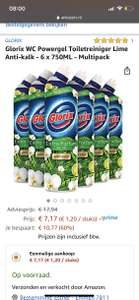Glorix WC Powergel Toiletreiniger Lime Anti-kalk - 6 x 750ML - Multipack