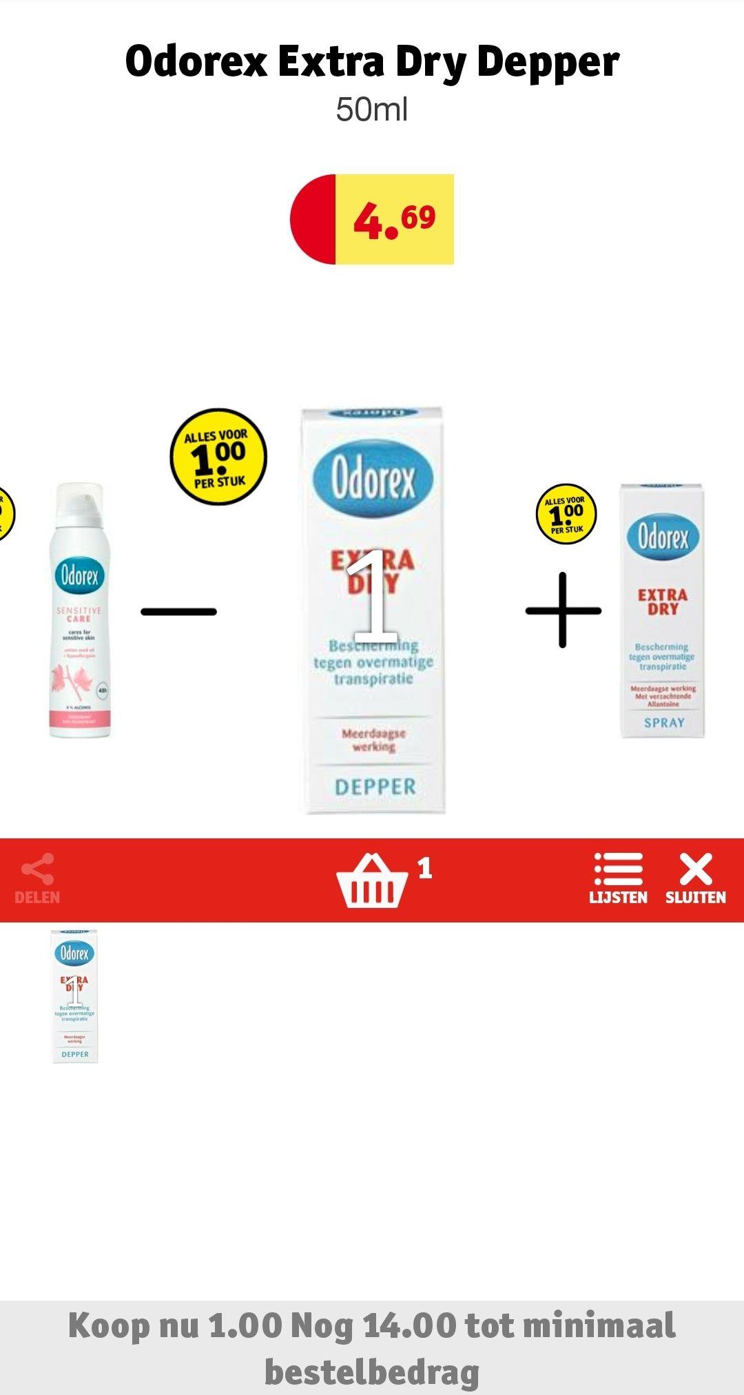 Alleen online bij Kruidvat: Odorex (extra) dry 1 euro