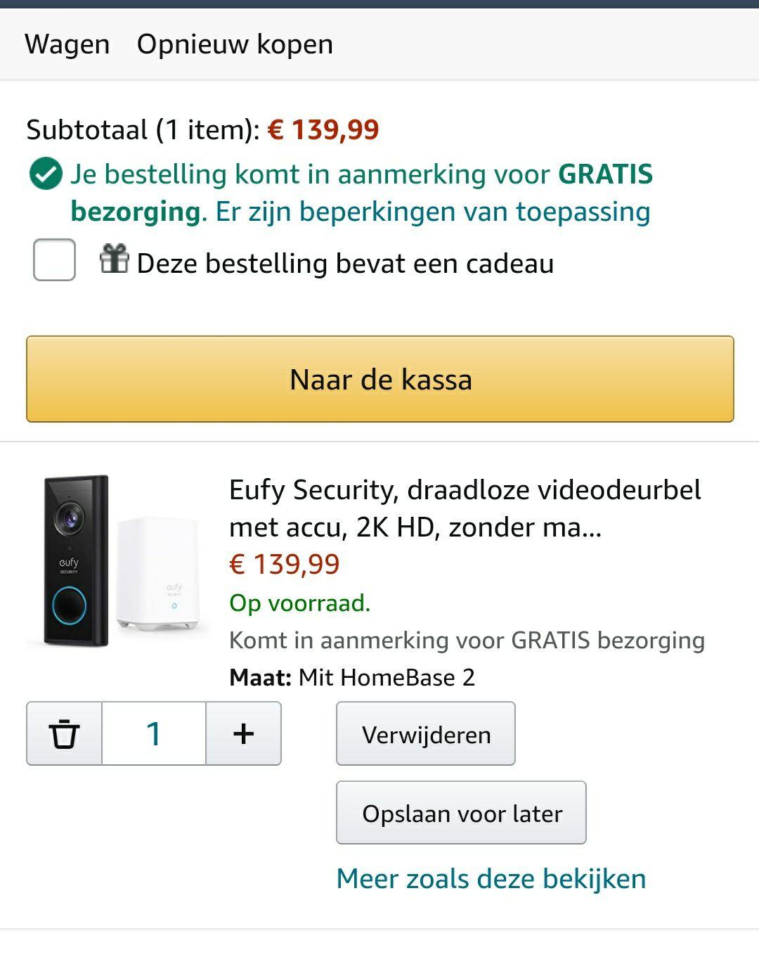 Eufy Security deurbel accu 2K HD met home base 2