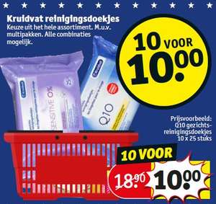 Kruidvat reinigingsdoekjes 10 voor 10 (10x25)