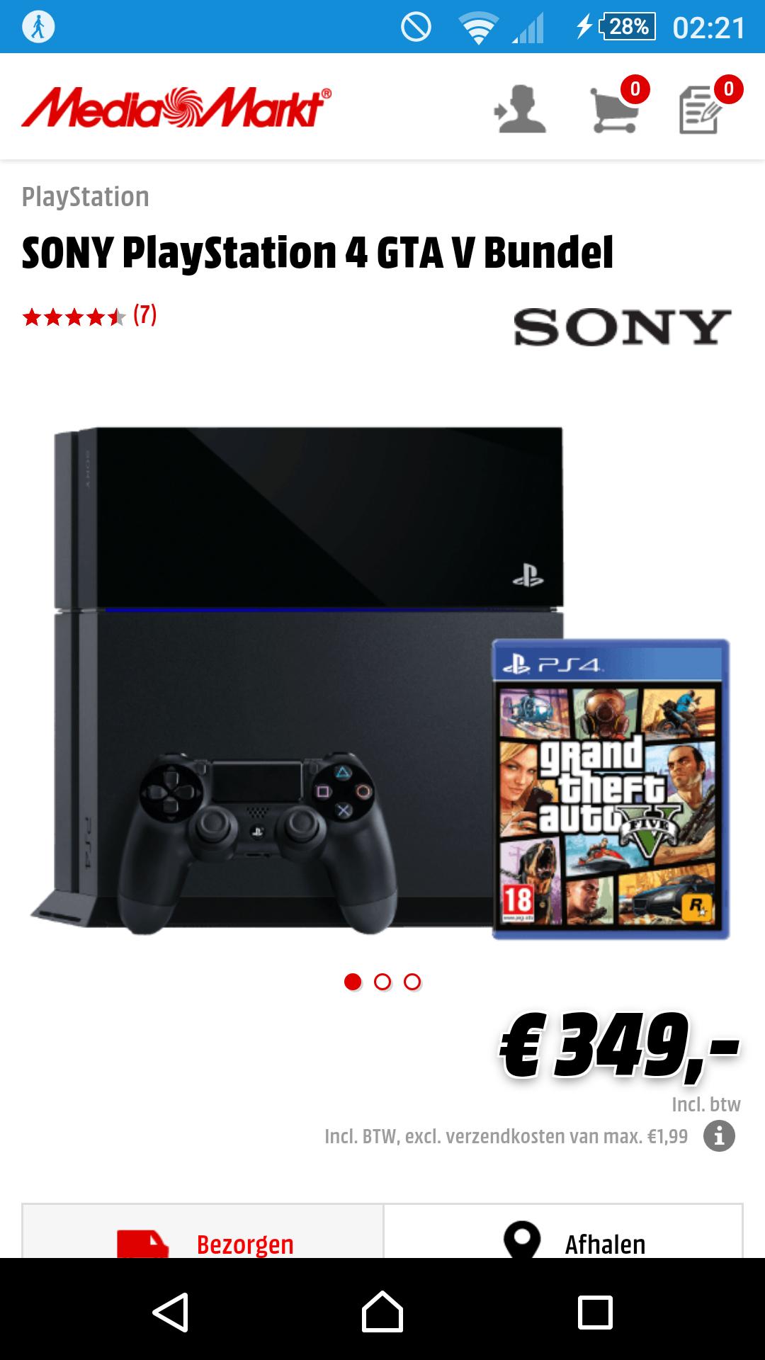 Playstation 4 + GTA V voor €349 @ Media Markt