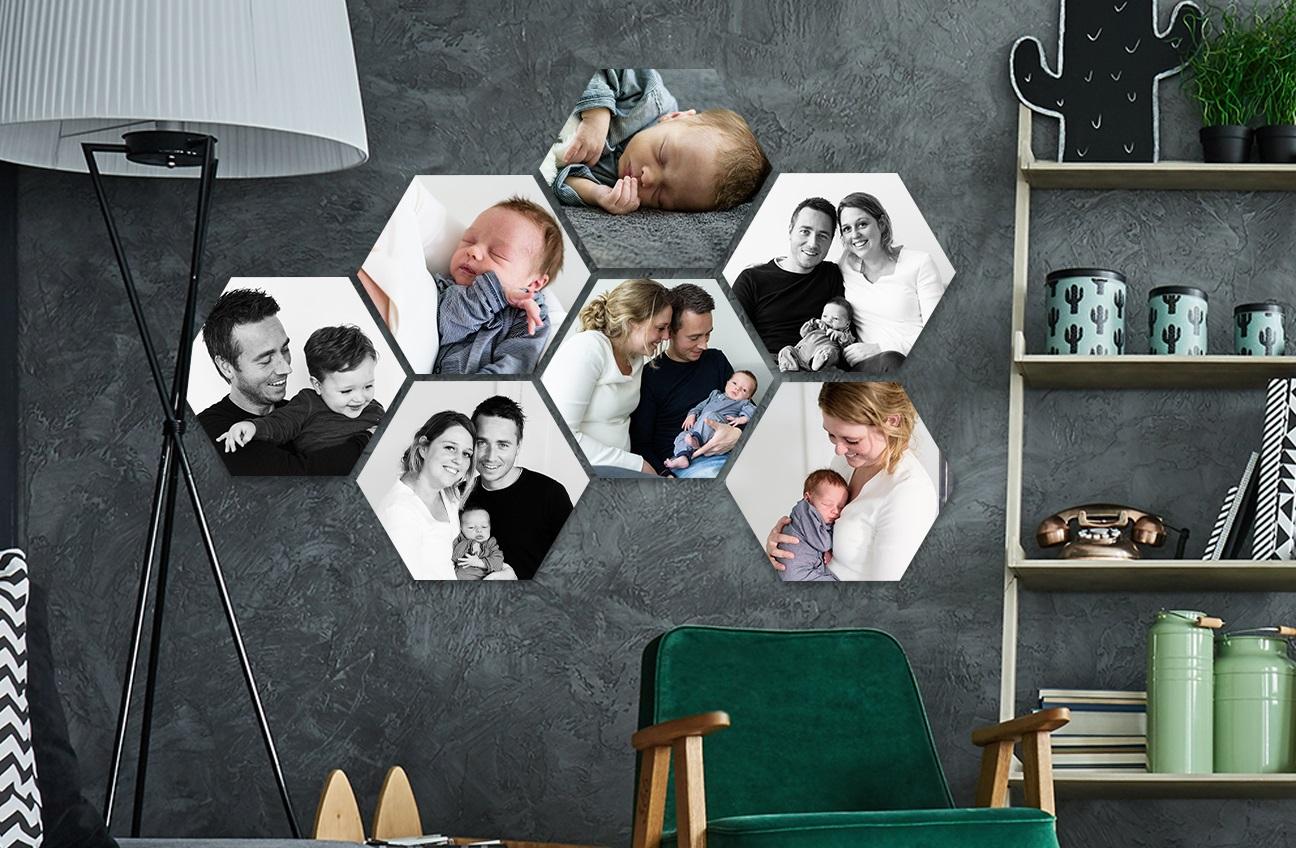 Forex met eigen foto (hexagon / square / circle / ruitje) wanddecoratie - v.a. €2,79 p.s.