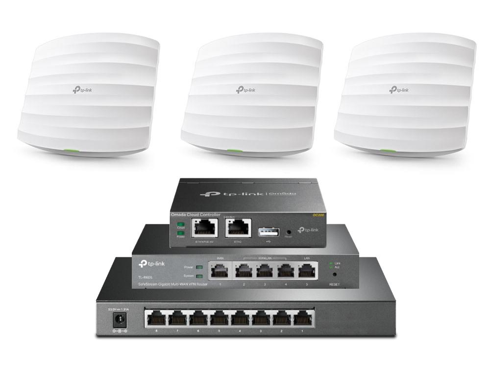 TP-Link Omada SDN EAP245 3-pack + TL-SG2008P Switch, VPN Router en OC200