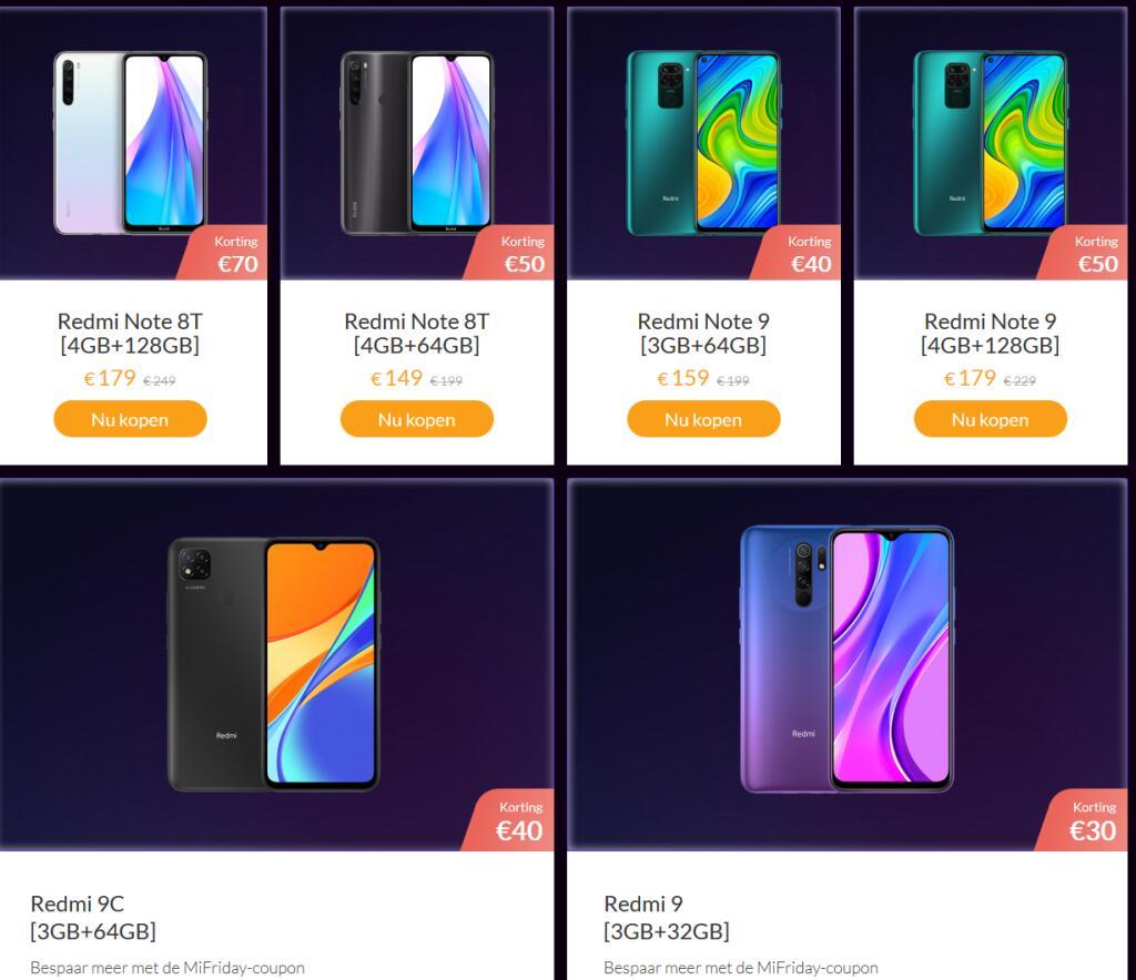 Xiaomi blackfriday aanbiedingen via Xiaomi website