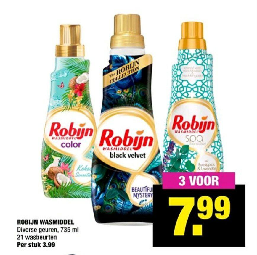 3 flessen robijn wasmiddel voor €7,99 bij BIG BAZAR