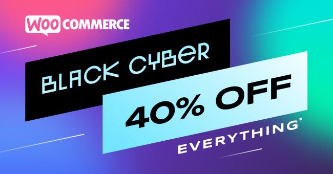 Krijg 40% korting op alles* bij WooCommerce.com tot middernacht PST op maandag 30 november 2020.