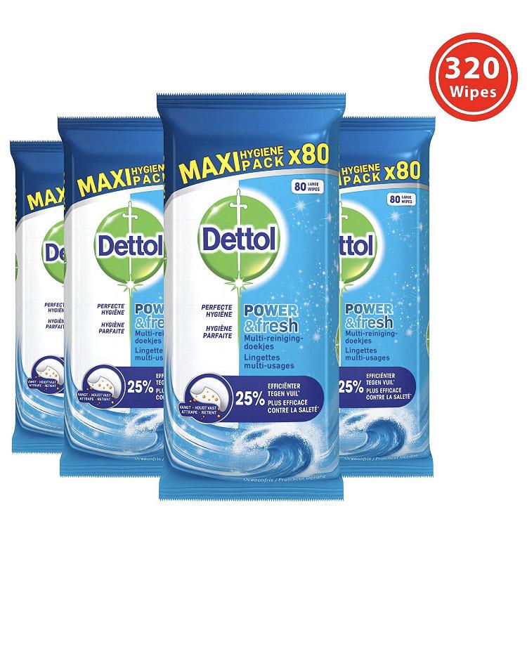 Dettol Schoonmaakdoekjes Power & Fresh - Oceaanfris - 80 stuks x 4, 3064691