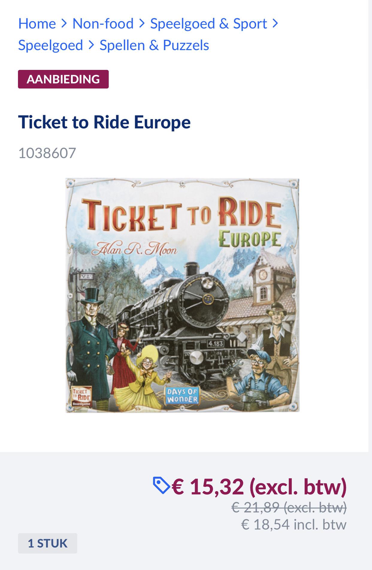 Black friday actie Ticket to ride Europa