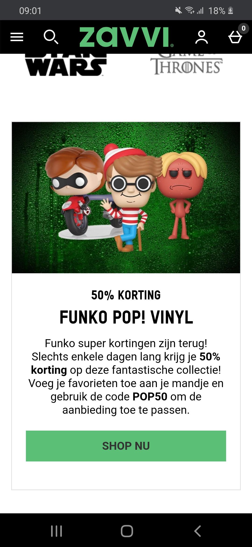 Funko pops -50% zavvi