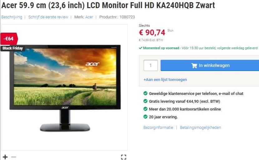 Acer 23.6 inch LCD Monitor full HD KA240HQB