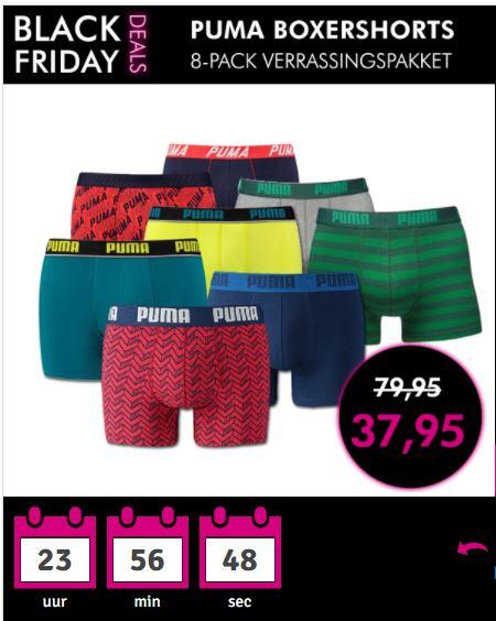 [BLACK FRIDAY] Puma boxershorts 8-pack verrassingspakket + gratis verzending va €75 (@1dagactie.nl)