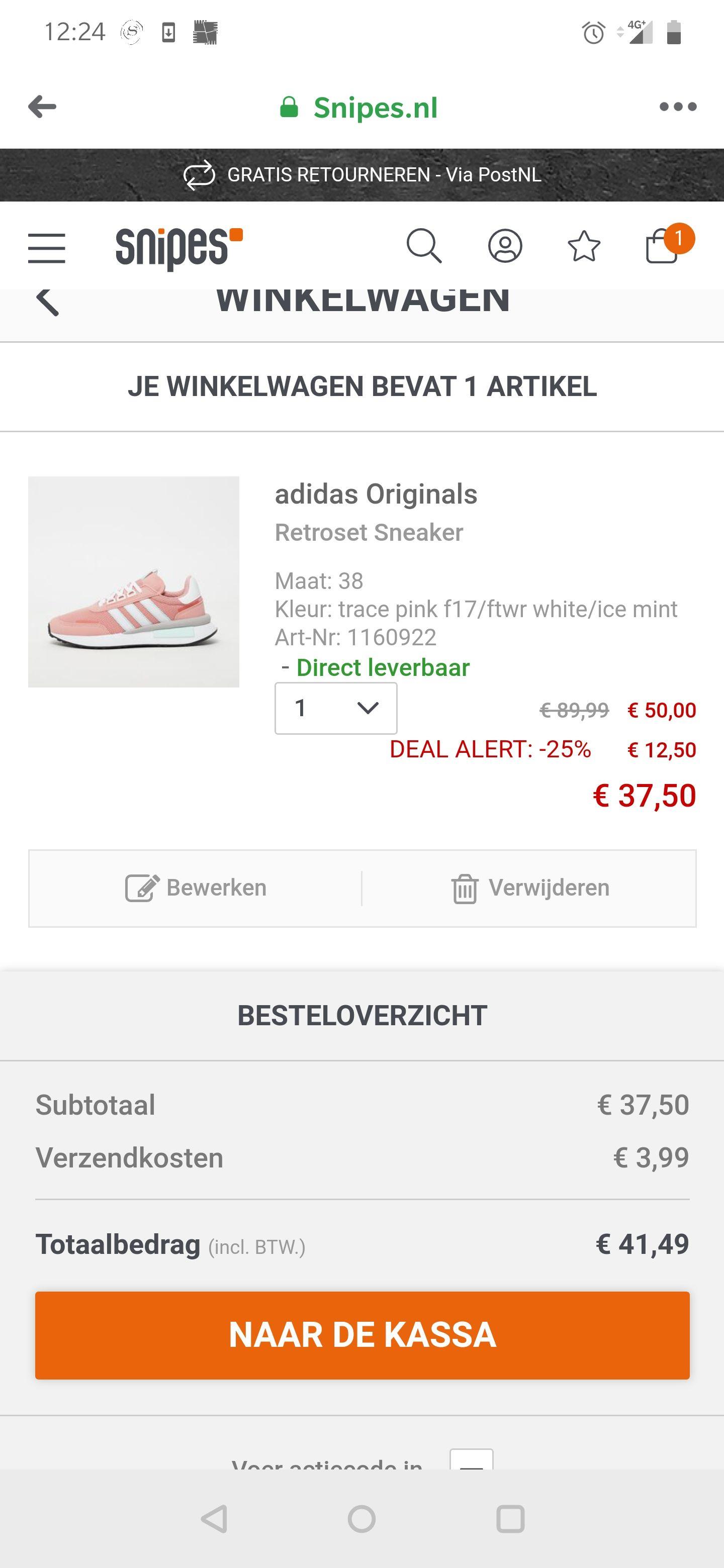 Adidas original 37,50 bij snipes