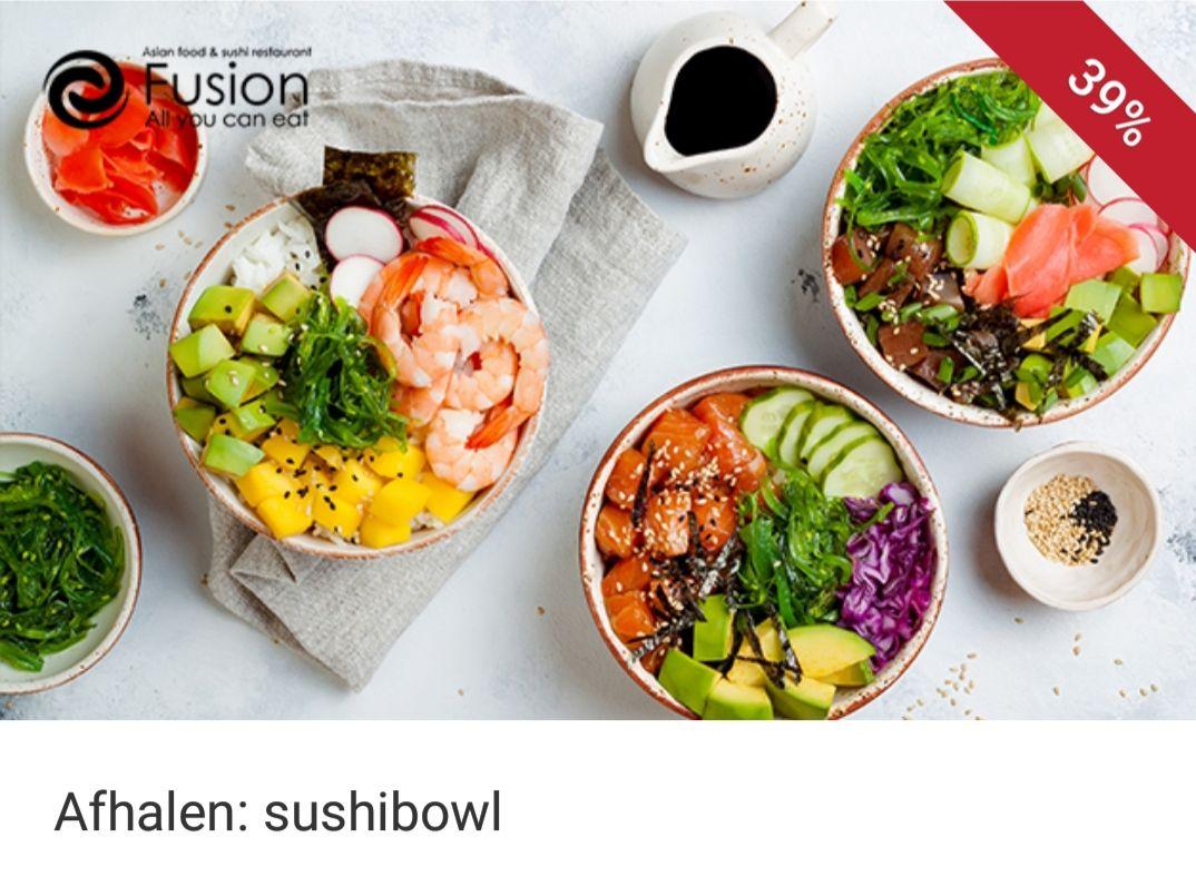 Sushi bowl bij Fusion in Helden (Limburg)