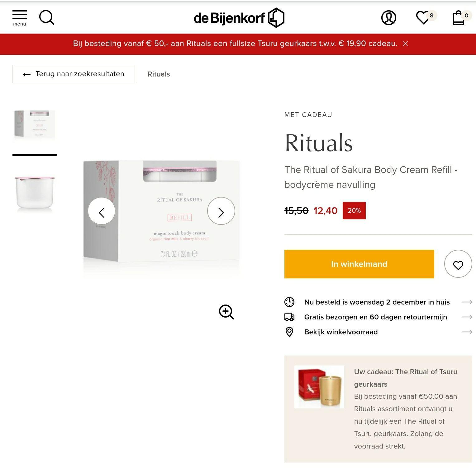 20% korting op Rituals Refill bij de Bijenkorf + cadeau vanaf 50 euro