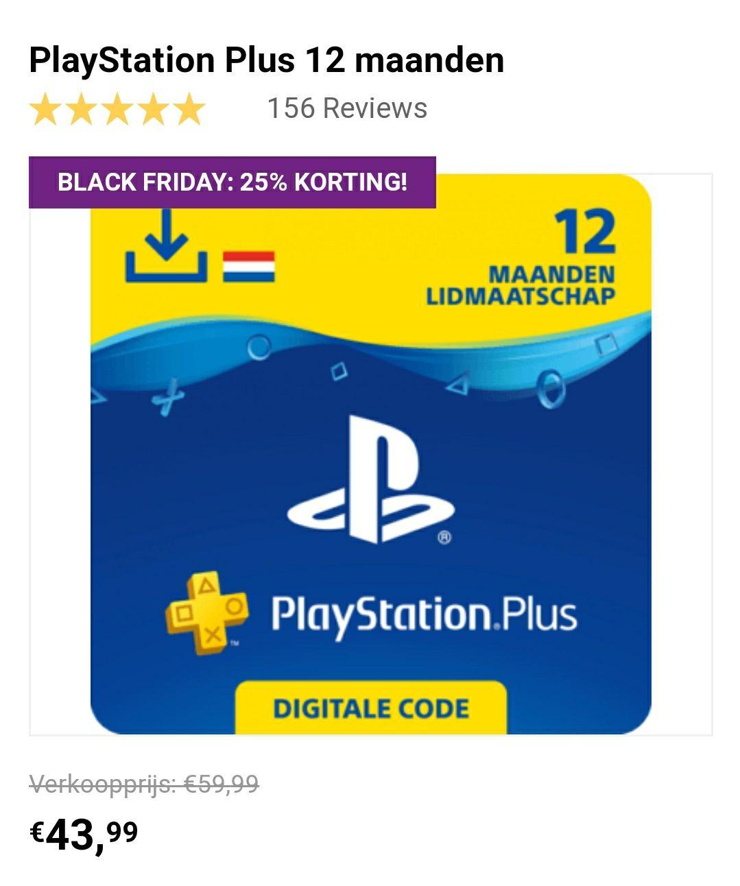 Playstation Plus 12 maanden lidmaatschap (Startselect)