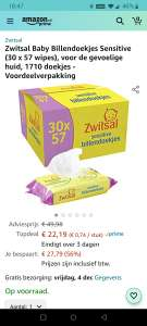 30 x 57 Zwitsal sensitive billendoekjes