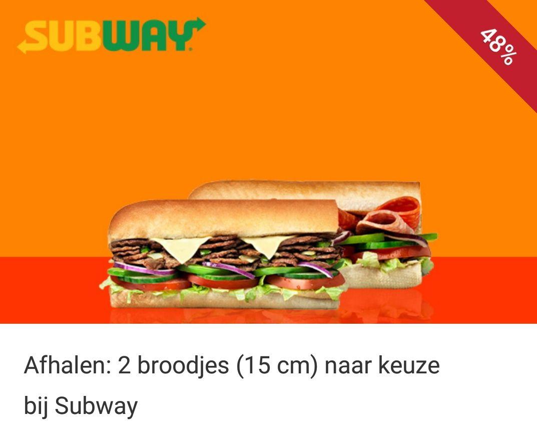 Subway Asten 2 broodjes van 15 cm voor 5 eur