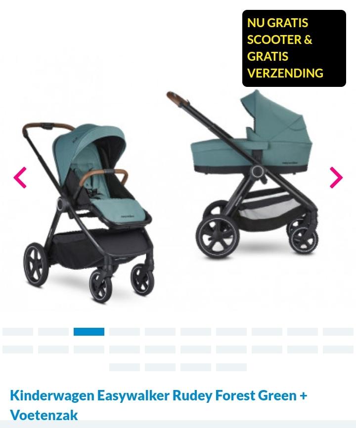 Easywalker Rudey kinderwagen (div kleuren) + voetenzak+ gratis childhome scooter (@vanastenbabysuperstore)