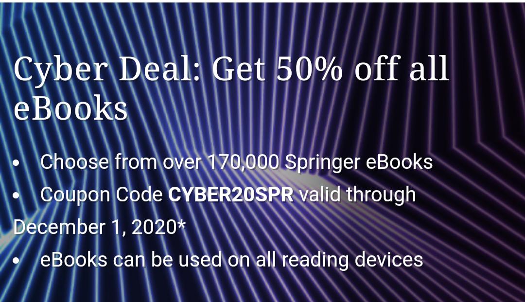 50% korting op alle e-books springer.com