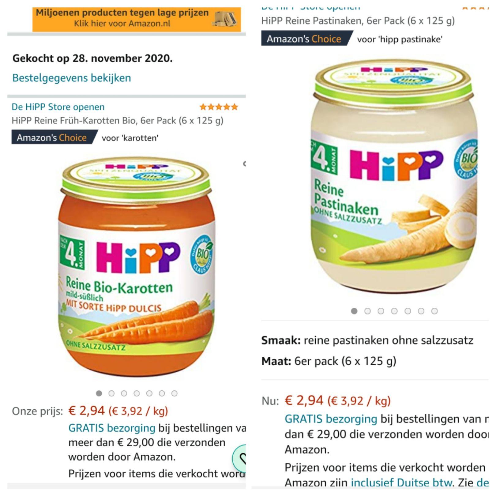 Hipp babyvoeding 4 maanden wortel of pastinaak 6 potjes.
