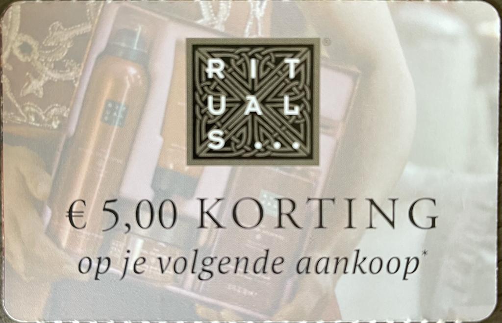 5 euro korting (minimale besteding €45) bij Rituals vanaf 27 december 2020
